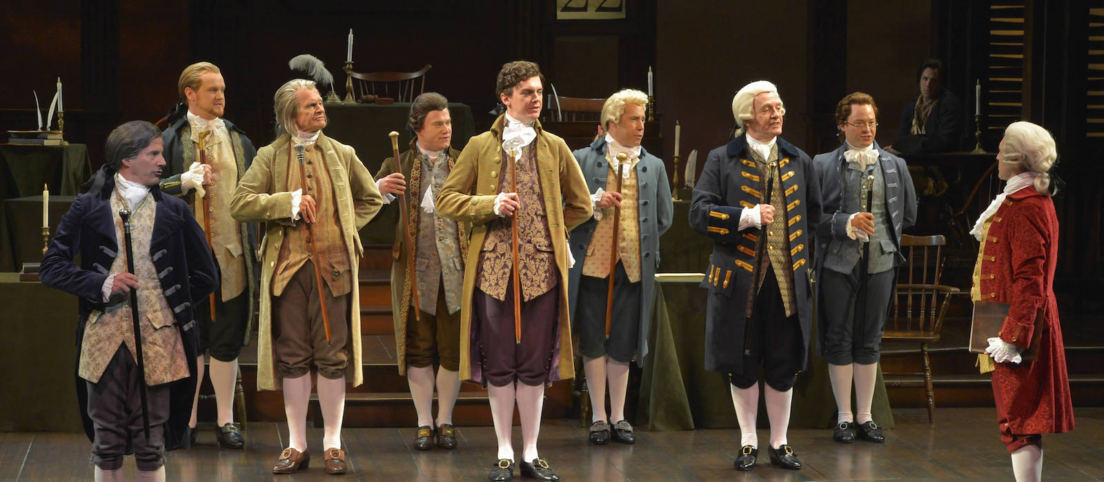 Jarrod Zimmerman (Edward Rutledge) and cast singing 'Cool, Cool, Considerate Men' from 1776 at American Conservatory Theater in San Francisco, CA