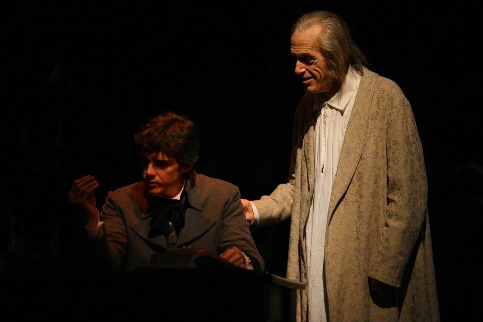 Jarrod Zimmerman (Young Scrooge) with Larry Yando (Ebenezer Scrooge) in A Christmas Carol