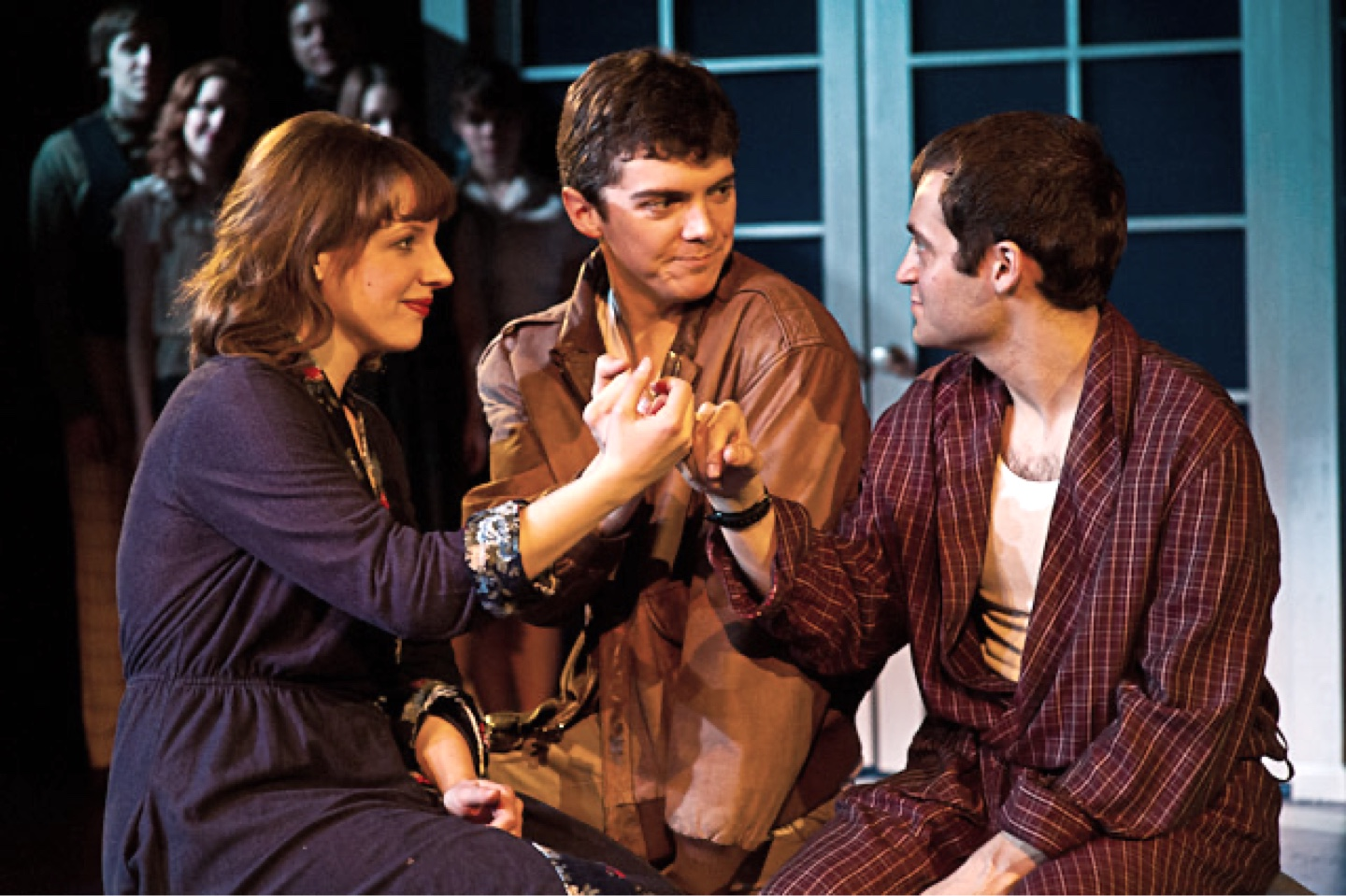 Jessie Mueller, Jarrod Zimmerman, and Alan Schmuckler in Merrily We Roll Along at The Music Theatre Company